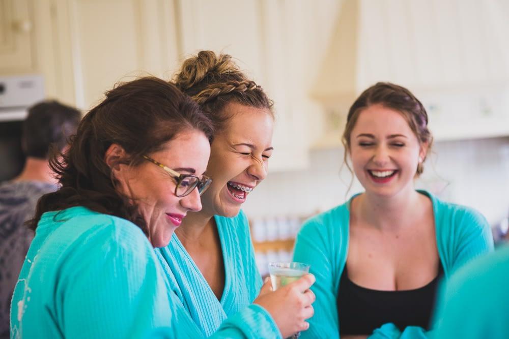 bridesmaids laughing
