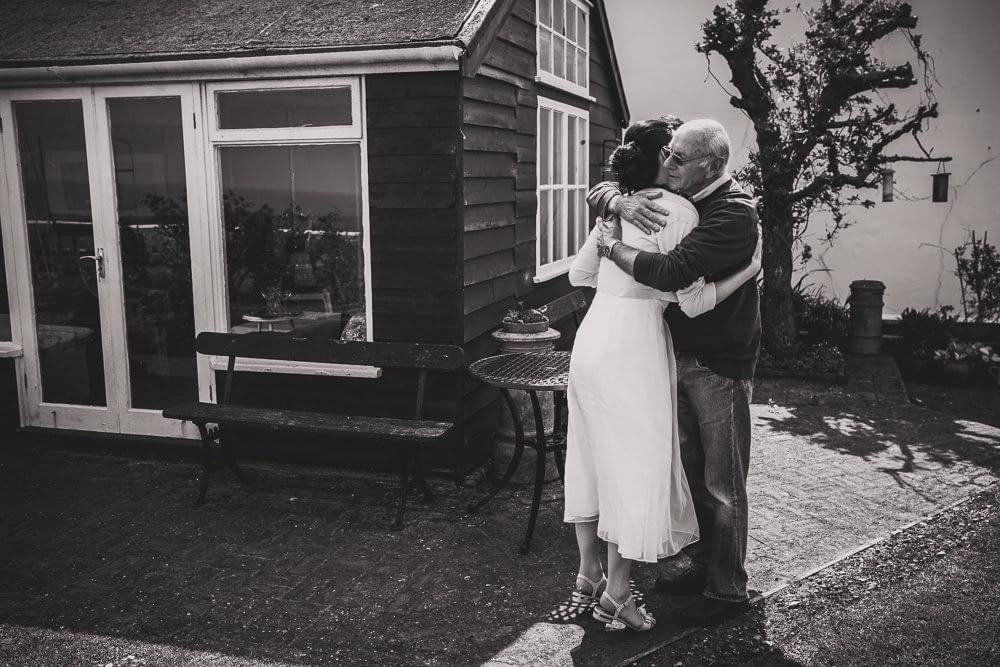 hugging relatives