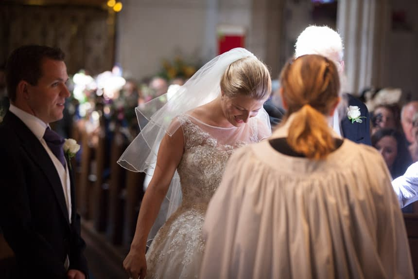 bride with head down