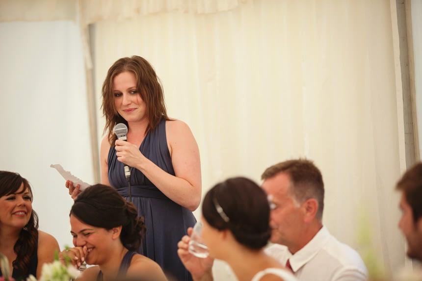 bridesmaid reading poem
