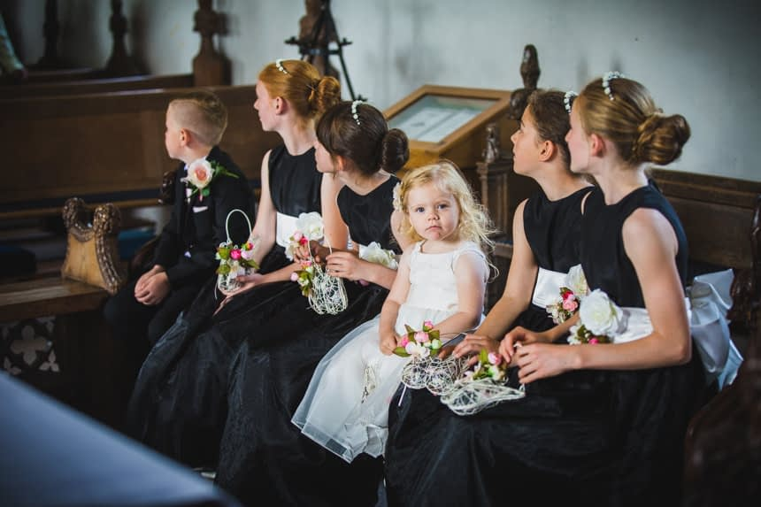 flower girl looking at camera
