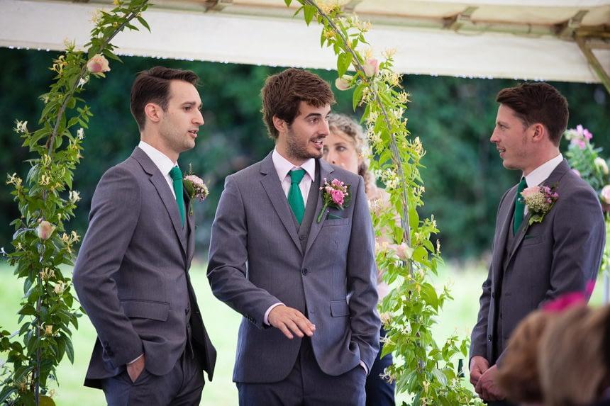groom waiting with best men