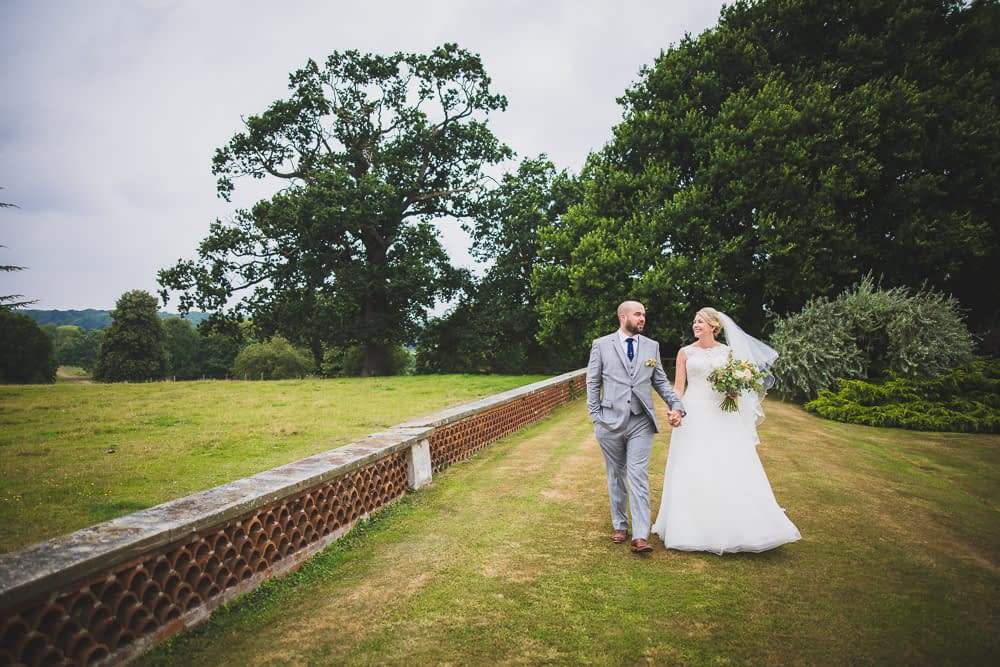 bride and groom in grounds of Kimberly Hall