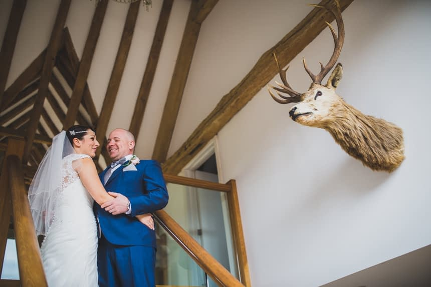 bride, groom and stags head