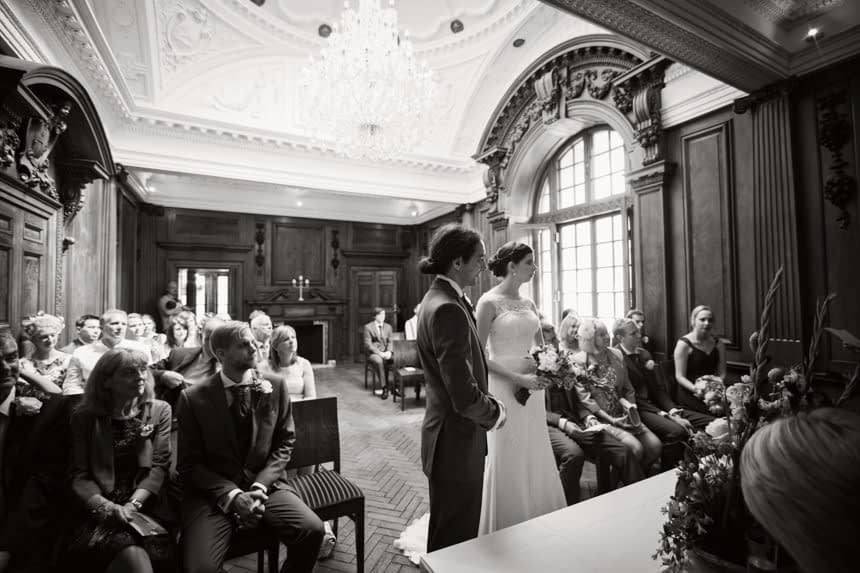 bride and groom at front of ceremony