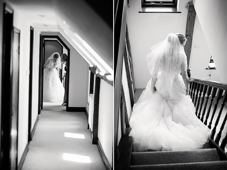 bride walking down corridor/stairs