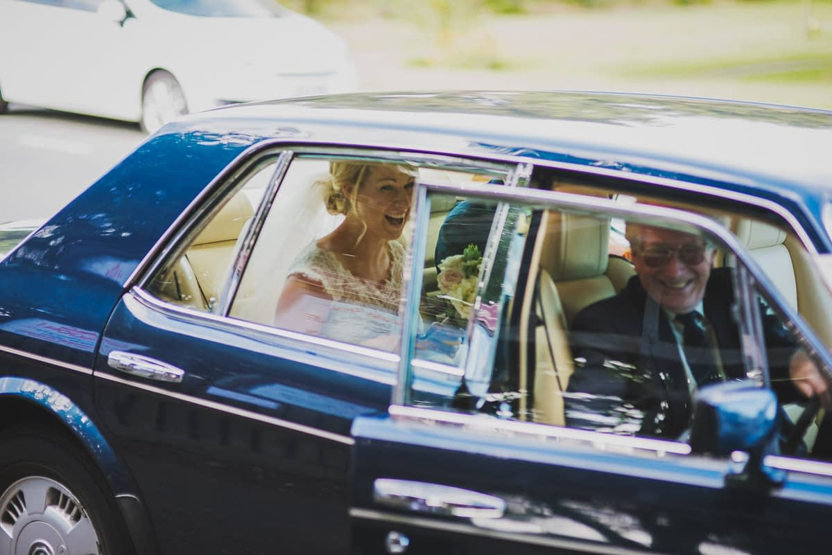 bride arriving in car