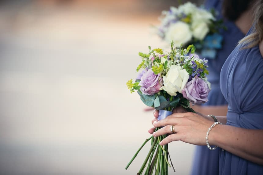 bridesmaid with flowers