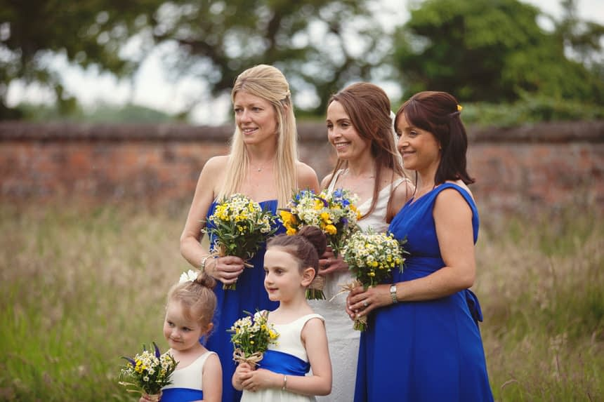 bride, bridesmaids and flower girls