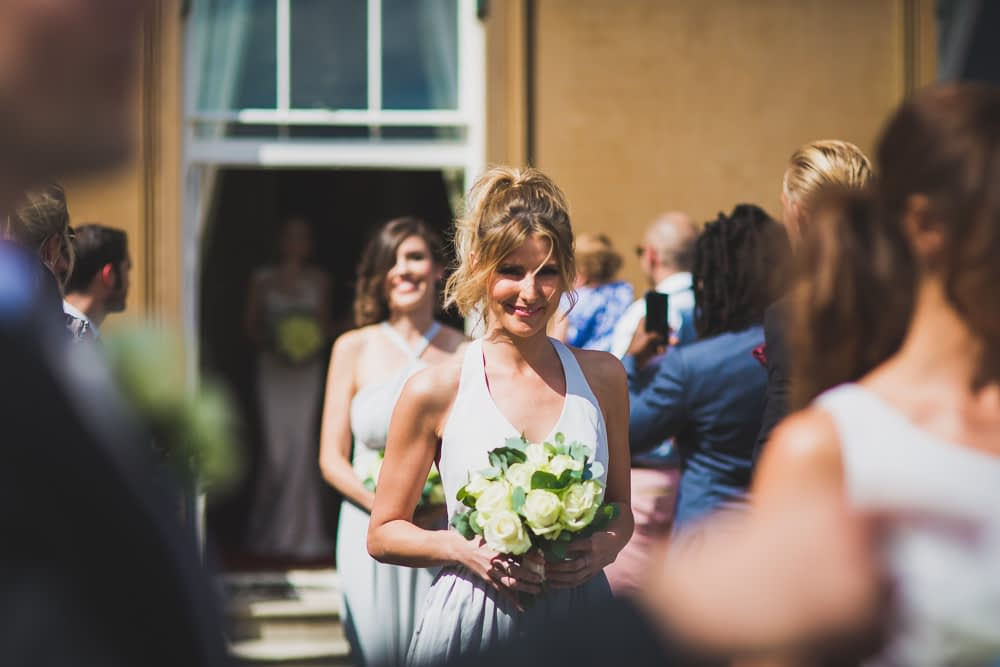 bridesmaid walking aisle