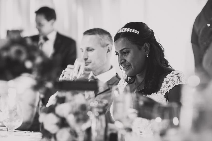 bride with tear during speeches