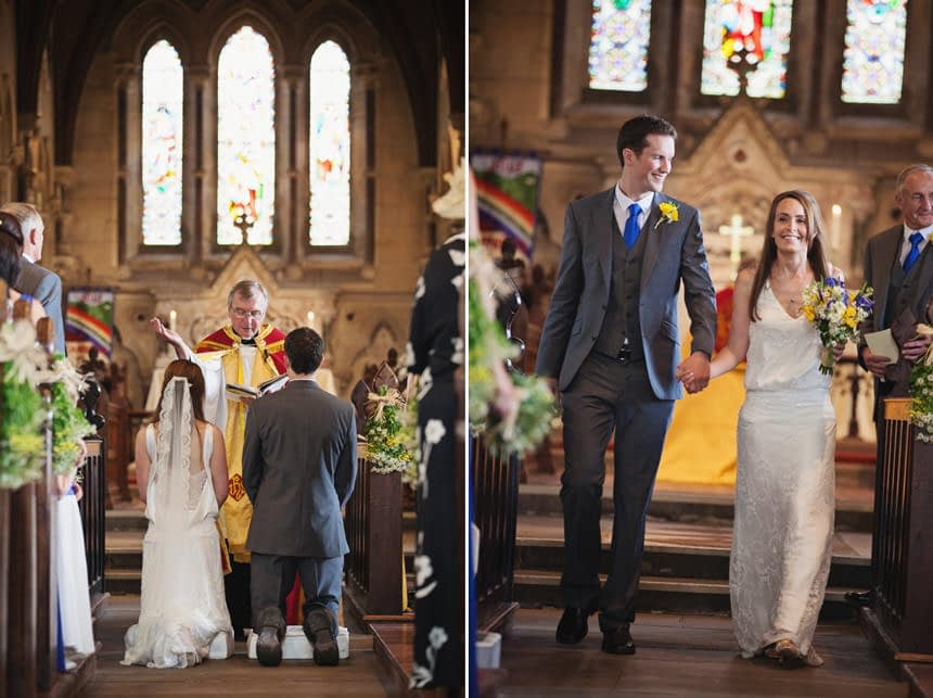 bride and groom on knees and walking down the aisle
