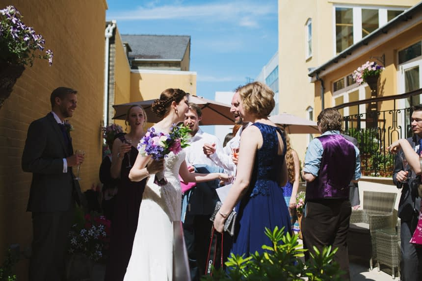 bride with guests