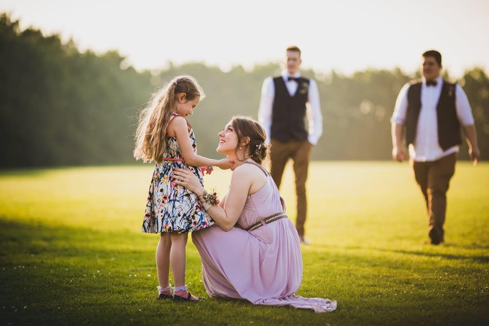 bridesmaid and young girl