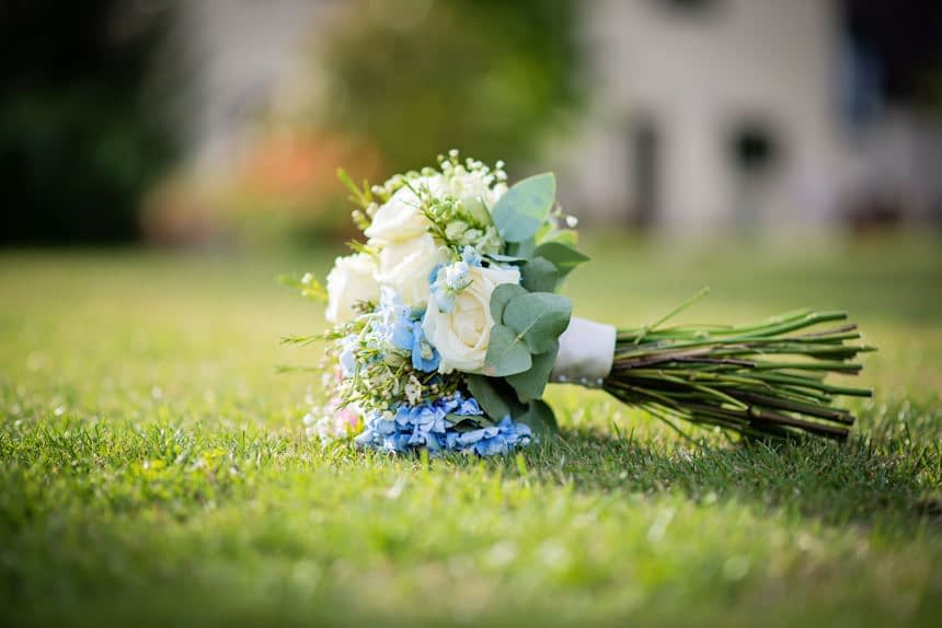 bride's flowers on grass