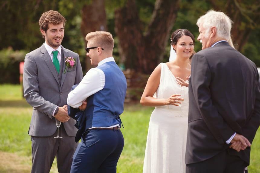 bride and groom in receiving line