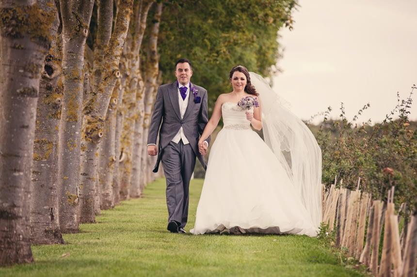 bride and groom walking shot