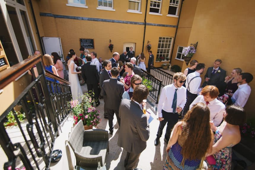 guests in courtyard