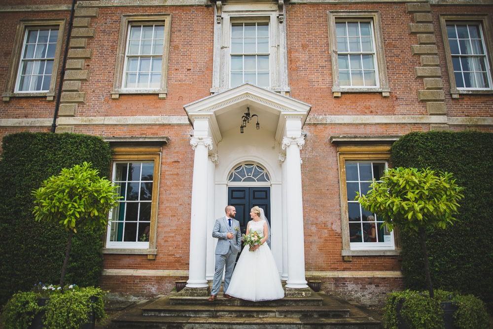 Bride and groom on steps