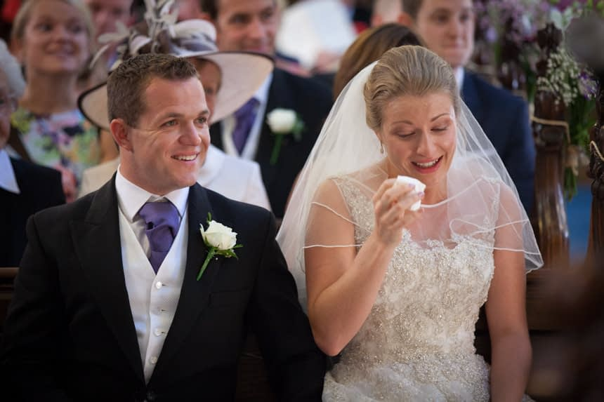 bride crying with laughter