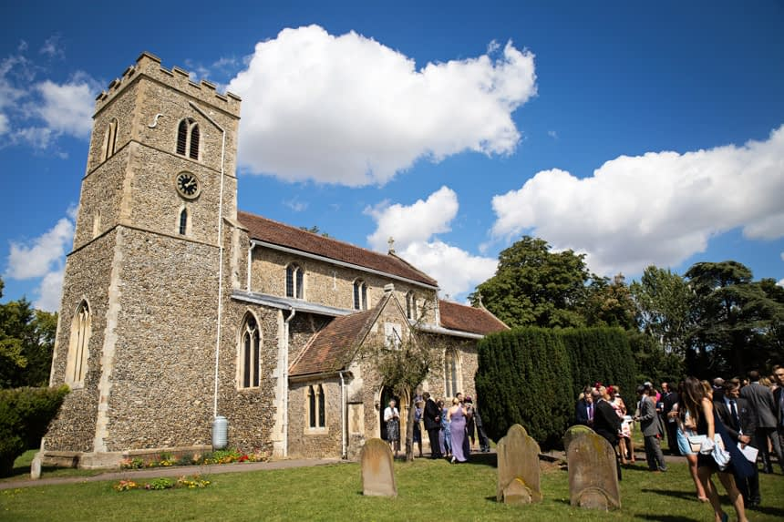 wide shot of church with blue sky