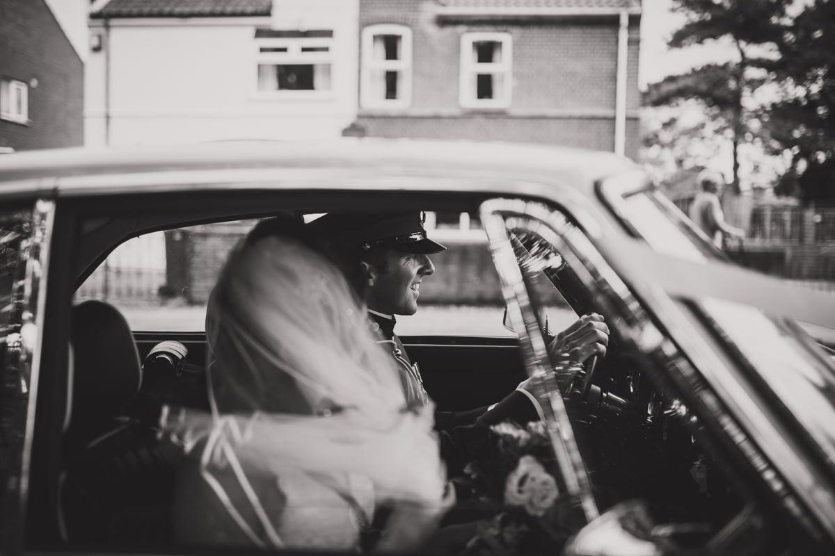 groom driving car