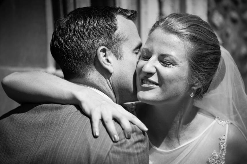 bride embracing guest