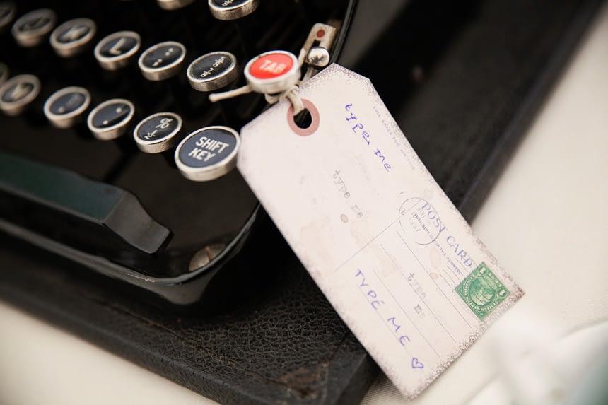 type me sign on old type writer
