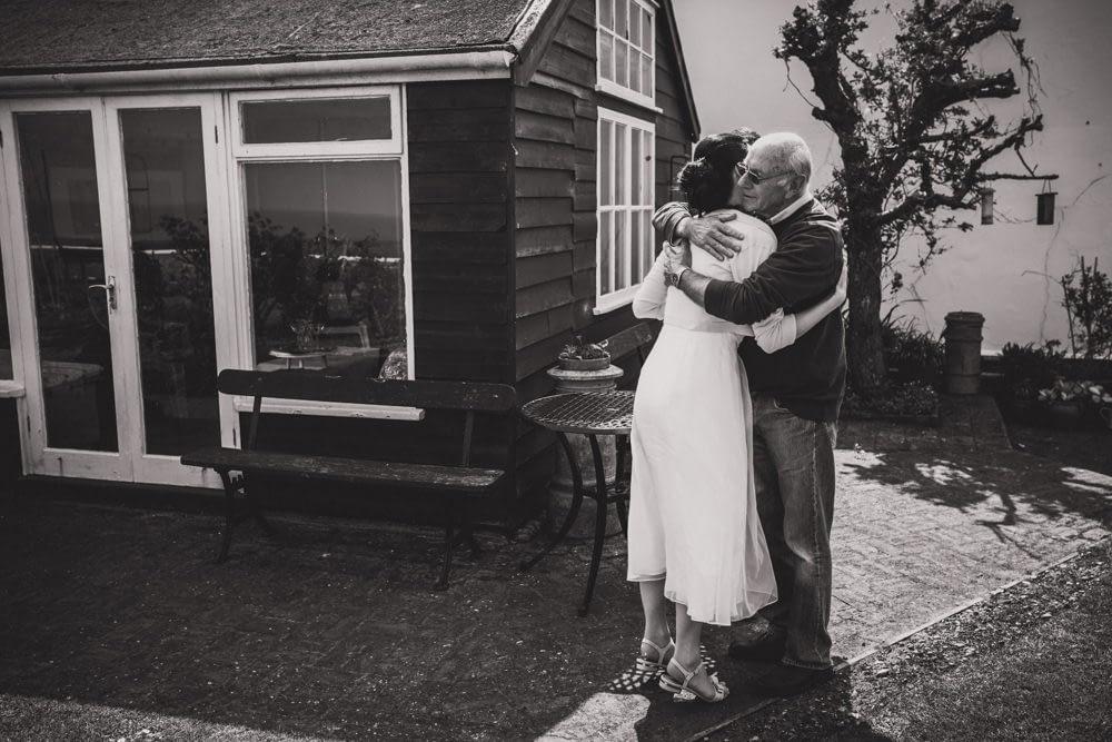bride hugging relative