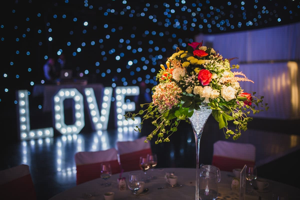 table centre and love lights