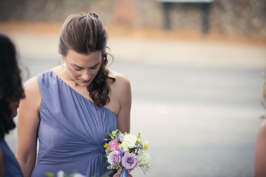 bridesmaid looking down