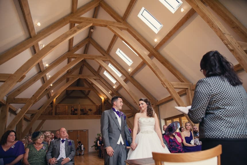 groom and bride wide angle