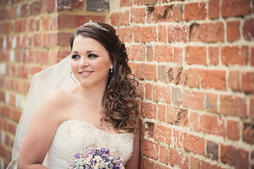 bride next to wall