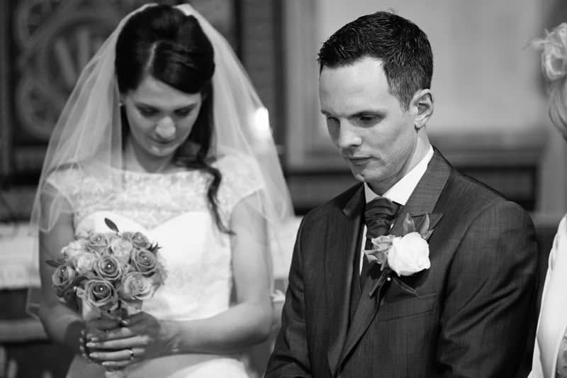 Bride and groom share quiet moment