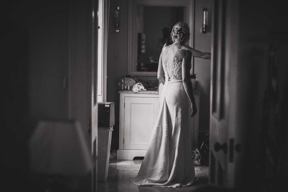 bride in bathroom