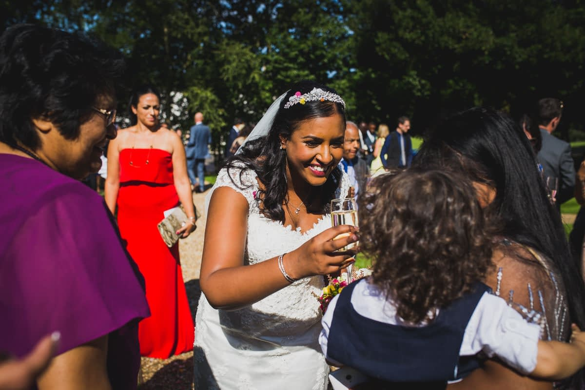 bride greeting guest