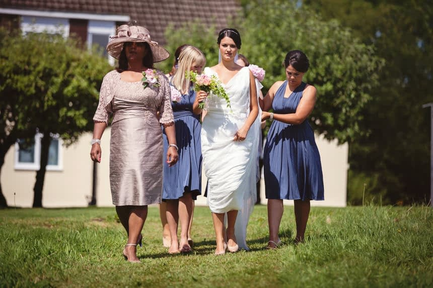 bride with her mother walking