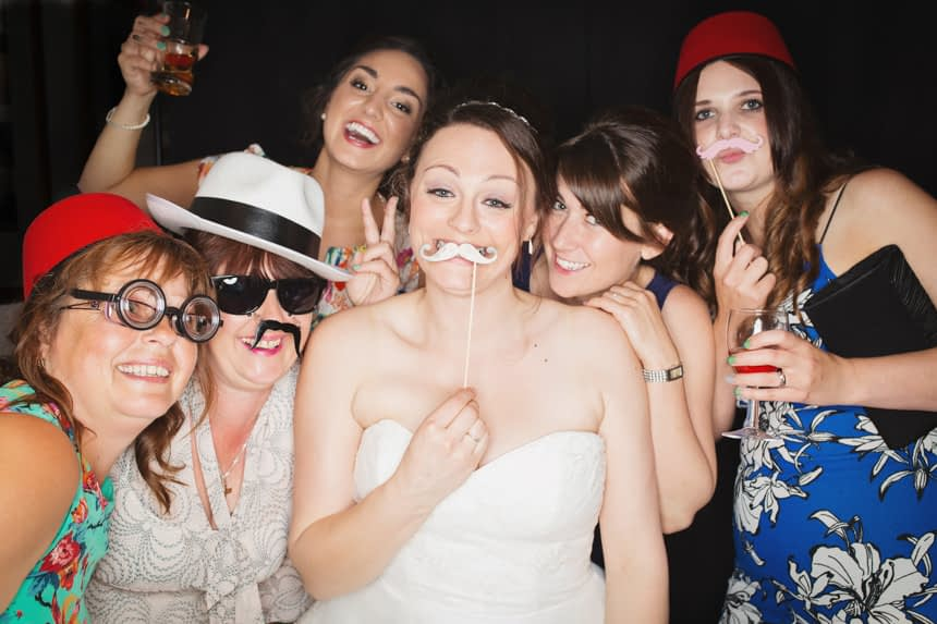 guests with fake moustaches