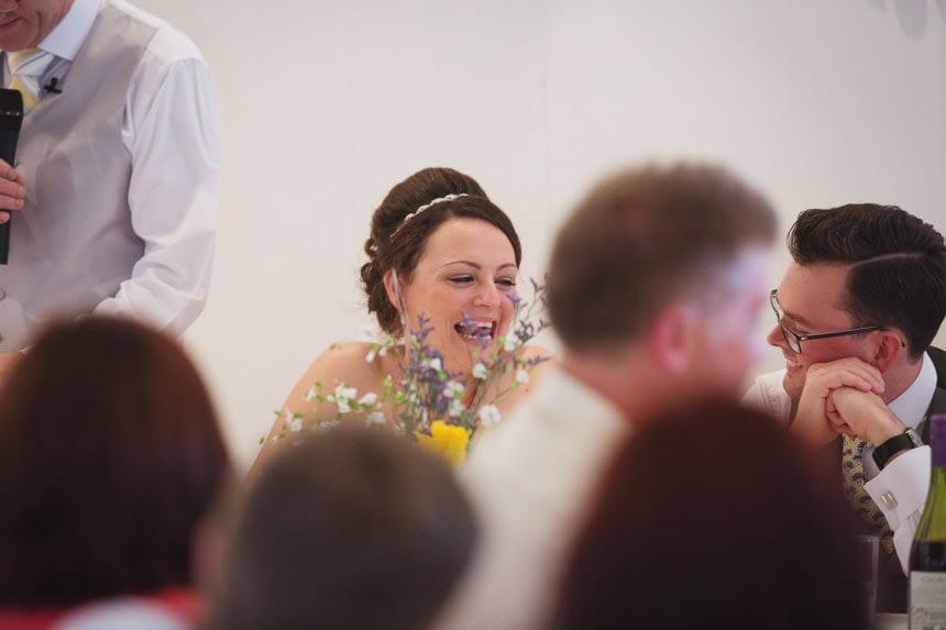 Bride laughing